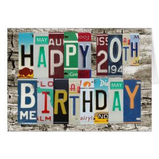 License Plates Happy 20th Birthday Card