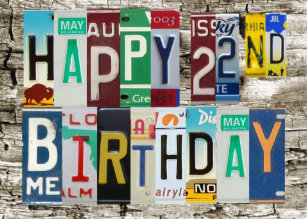 License Plates Happy 22nd Birthday Card