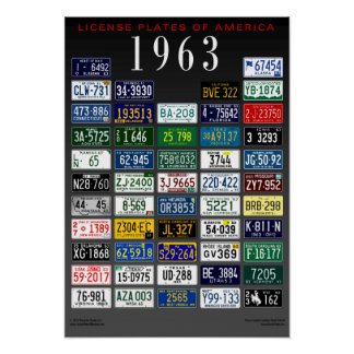 License Plates of America poster - 1963