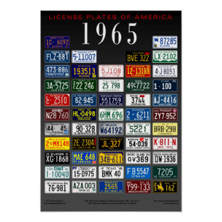 License Plates of America poster - 1965