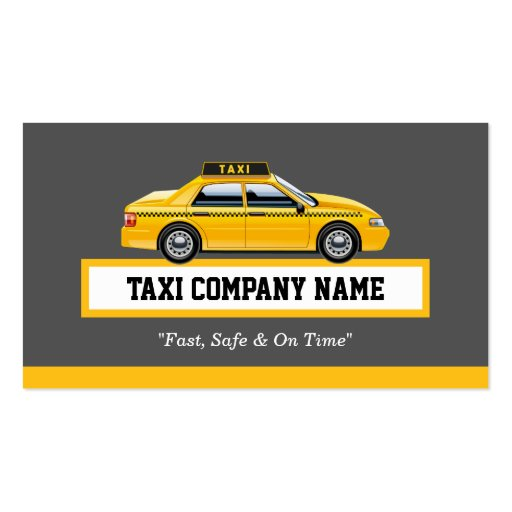 Licensed Cap Driver Chauffeur Yellow Taxi Business Card Templates