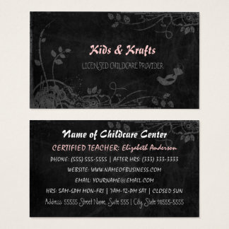 Licensed Childcare Provider Cute Floral Blackboard Business Card