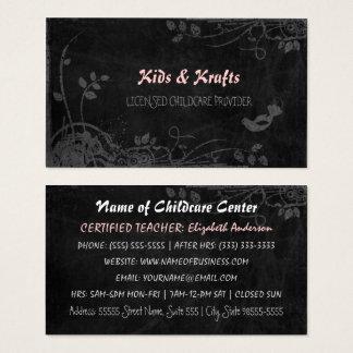 Licensed Childcare Provider Cute Floral Blackboard Business Card