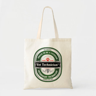 licensed vet tech tote budget tote bag