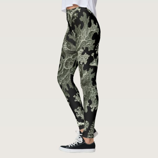Lichen by Ernst Haeckel, Vintage Nature Plants Leggings