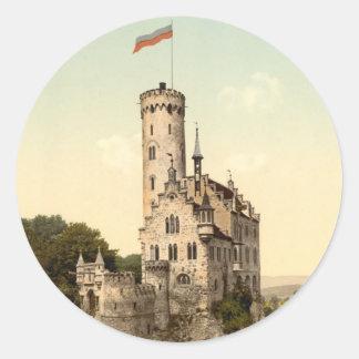 Lichtenstein Castle Postcard Round Stickers