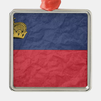 Lichtenstein Flag Silver-Colored Square Decoration