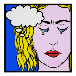 Lichtenstein Style comic lady crying Poster