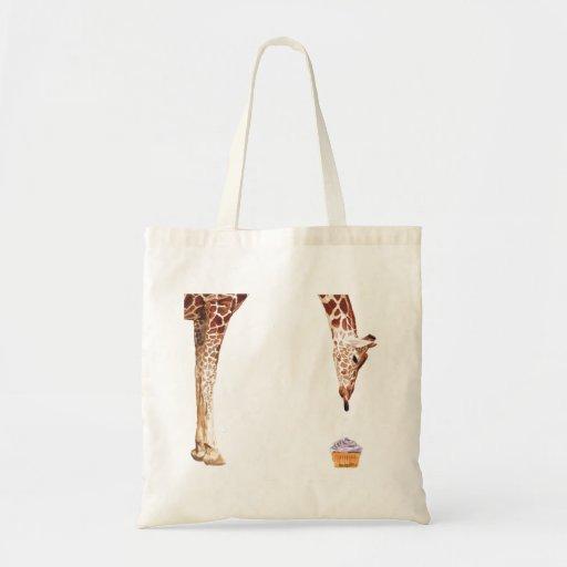 """Licker with Cupcake"" Giraffe Watercolor Canvas Bag"