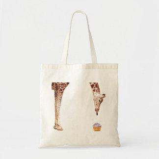 """Licker with Cupcake"" Giraffe Watercolor Budget Tote Bag"