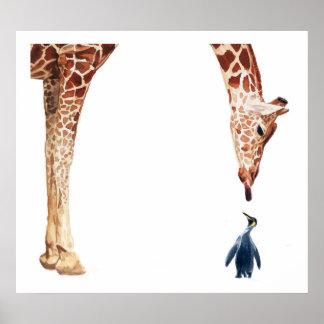 """Licker with Penguin"" Giraffe Watercolor Poster"
