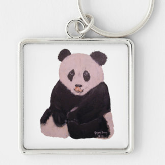 """Licking Panda"" Large, Square Keychain"