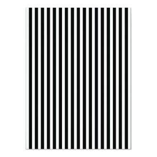 Licorice Black and White Cabana Stripes 17 Cm X 22 Cm Invitation Card