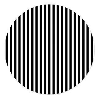 Licorice Black and White Cabana Stripes 13 Cm X 13 Cm Square Invitation Card