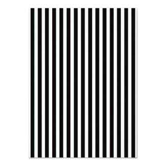 Licorice Black and White Cabana Stripes 11 Cm X 16 Cm Invitation Card