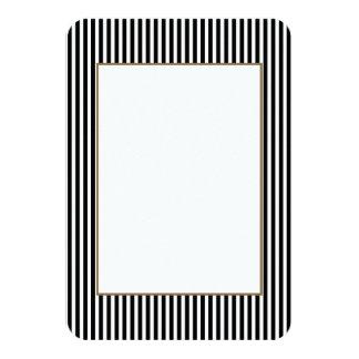 Licorice Black and White Cabana Stripes 9 Cm X 13 Cm Invitation Card