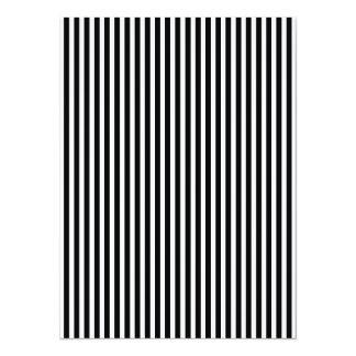 Licorice Black and White Cabana Stripes 14 Cm X 19 Cm Invitation Card