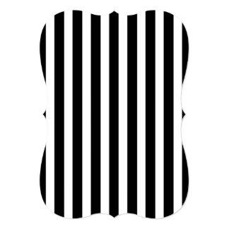 Licorice Black and White Cabana Stripes 13 Cm X 18 Cm Invitation Card