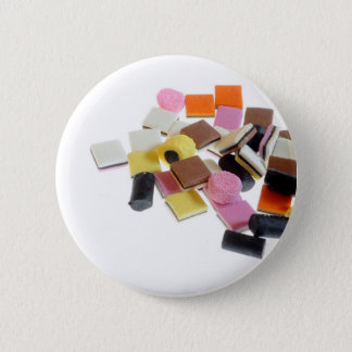 Licorice candy with copy space 6 cm round badge