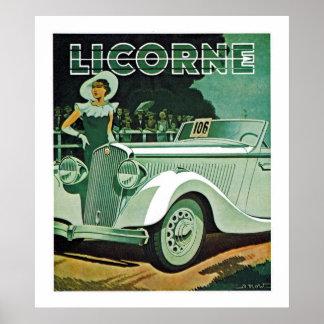 Licorne Automobile Advertisement Poster