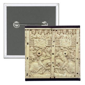 Lid of a casket depicting a tournament 15 cm square badge