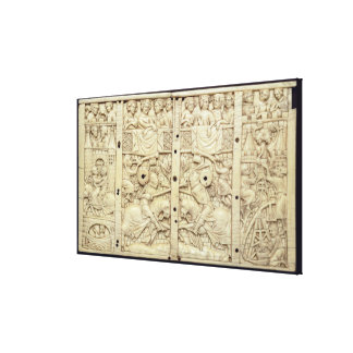 Lid of a casket depicting a tournament gallery wrap canvas