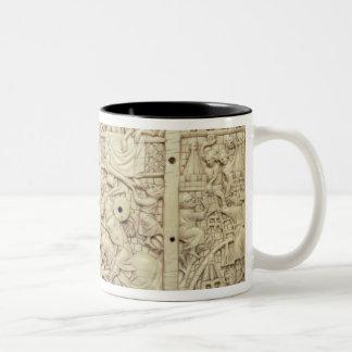 Lid of a casket depicting a tournament Two-Tone coffee mug