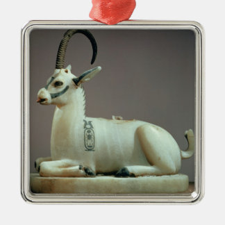 Lid of an unguent jar in the form of an ibex christmas ornament