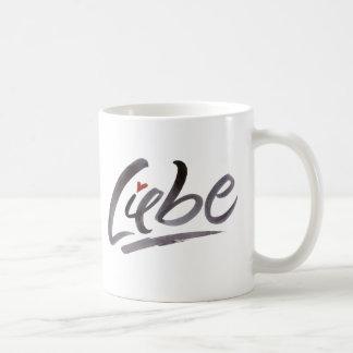 Liebe Love Hertz Schoneschrift Brush Lettering Coffee Mug