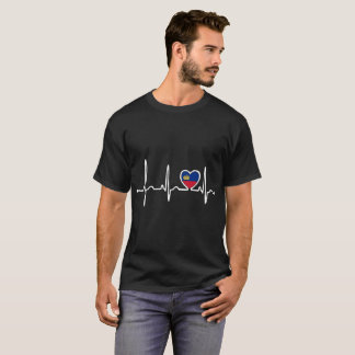 Liechtenstein Country Flag Heartbeat Pride Tshirt