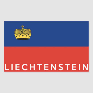 liechtenstein country flag text name rectangular sticker