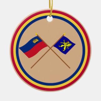 Liechtenstein Flag and Balzers Armorial Banner Round Ceramic Decoration