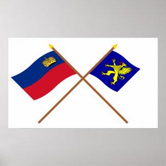 Liechtenstein Flag and Balzers Armorial Banner Poster