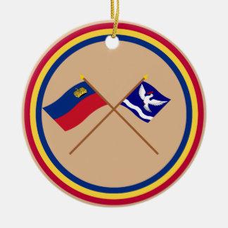 Liechtenstein Flag and Eschen Armorial Banner Ornament
