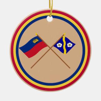 Liechtenstein Flag and Gamprin Armorial Banner Round Ceramic Decoration
