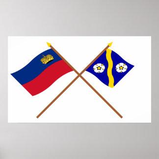 Liechtenstein Flag and Gamprin Armorial Banner Poster