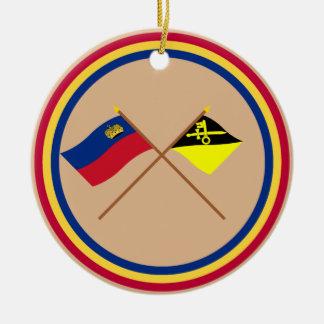 Liechtenstein Flag and Mauren Armorial Banner Double-Sided Ceramic Round Christmas Ornament
