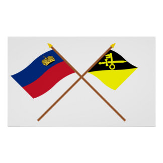 Liechtenstein Flag and Mauren Armorial Banner Poster