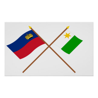 Liechtenstein Flag and Planken Armorial Banner Poster