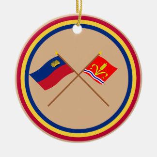 Liechtenstein Flag and Ruggell Armorial Banner Christmas Tree Ornaments