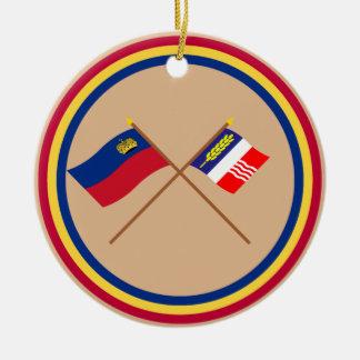Liechtenstein Flag and Schaan Armorial Banner Christmas Tree Ornaments