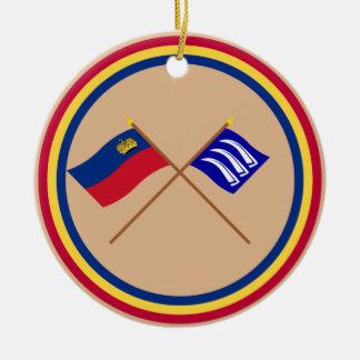 Liechtenstein Flag and Triesen Armorial Banner Double-Sided Ceramic Round Christmas Ornament