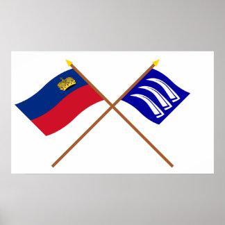 Liechtenstein Flag and Triesen Armorial Banner Poster