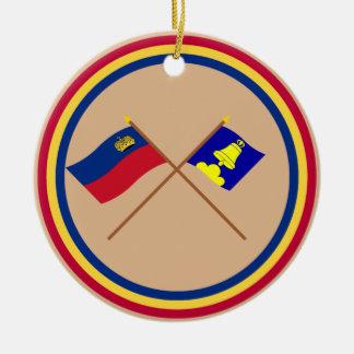 Liechtenstein Flag and Triesenberg Armorial Banner Double-Sided Ceramic Round Christmas Ornament