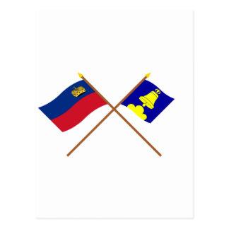Liechtenstein Flag and Triesenberg Armorial Banner Post Card