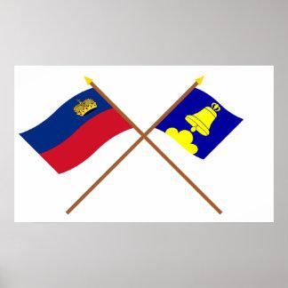 Liechtenstein Flag and Triesenberg Armorial Banner Poster