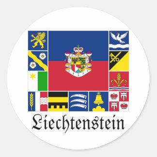 Liechtenstein & its Gemeinde Flags Round Sticker