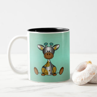 Lief and tough with silver girafje sulk Two-Tone coffee mug
