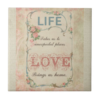 Life and Love on an Antique French Label Small Square Tile