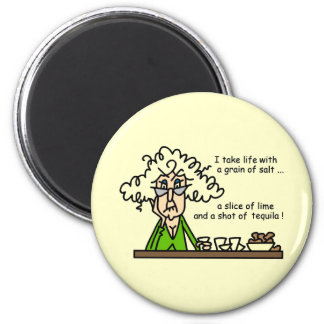 Life and Tequila Humor 6 Cm Round Magnet